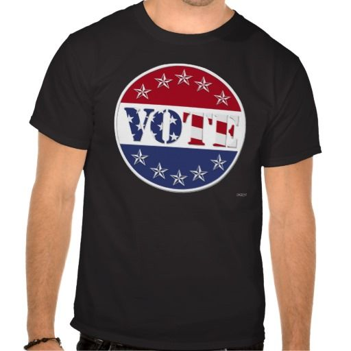 Red White & Blue VOTE with US Flag & Stars - round Shirts    •   This design is available on t-shirts, hats, mugs, buttons, key chains and more   •   Please check out our others designs at: www.zazzle.com/ZuzusFunHouse* #vote