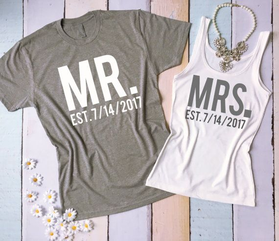 c244a22423745 MR and MRS tee shirt and tank top set. Honeymoon shirts. Just Married  shirts. Wedding tank and tee. Bride and Groom shirts.