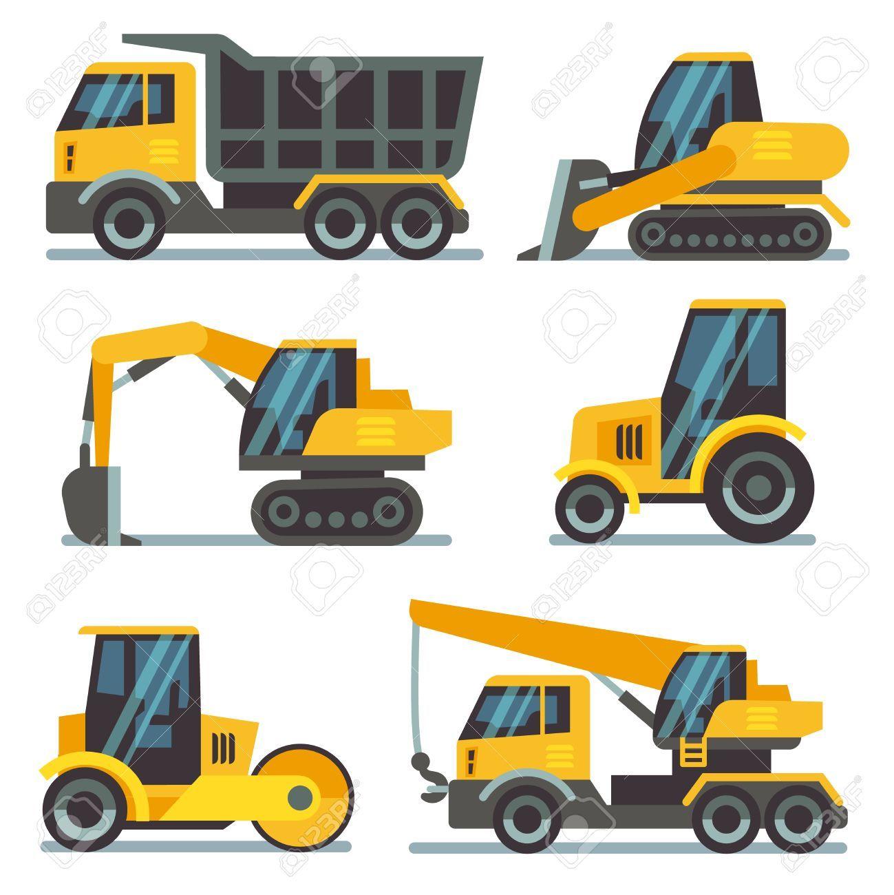Maquinas De Construccion Maquinaria Pesada Vehiculos De La Construccion De Vectores Iconos Planos Excavadora Y La Grua Excavadora Y Cargadora De La Ilustrac Maquinas De Construccion Equipo Pesado Maquinaria Pesada