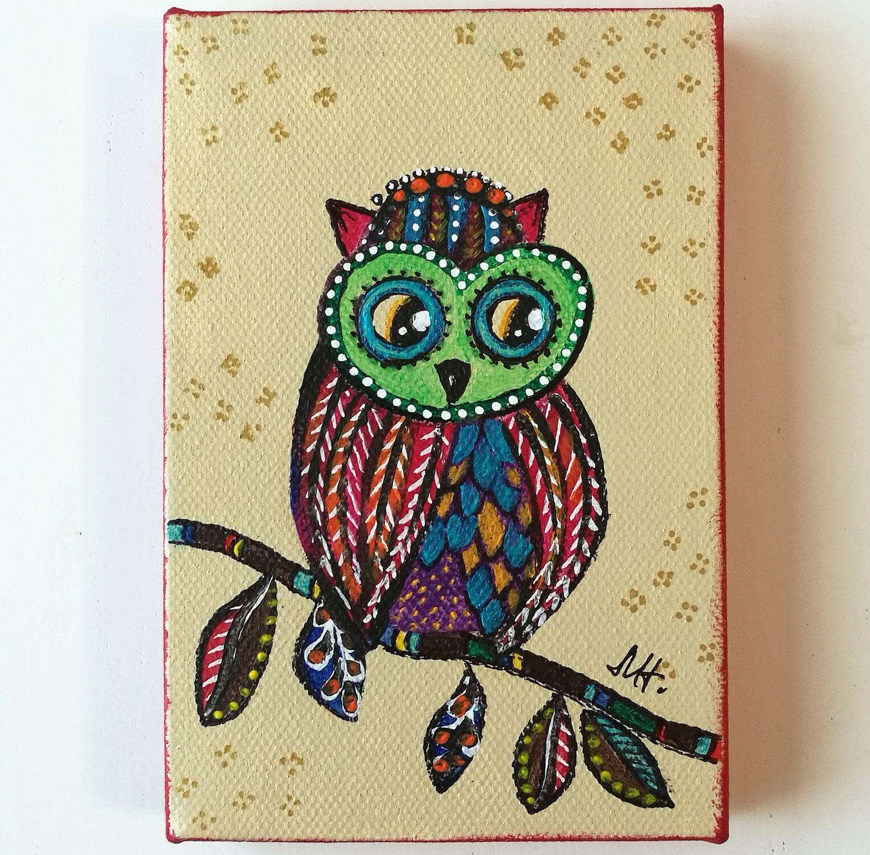 Owl Painting Acrylic Original Canvas Colorful - Kids Room - Rainbow ...
