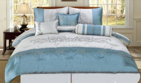 Amazoncom 7 Piece Embroidered Scroll Design Teal Blue