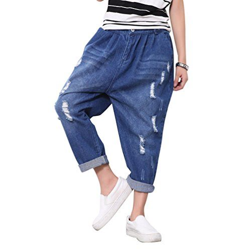 c8605485 WanYang Oversized Women's Harem Pants Stylish Casual Trousers Ladies Denim  Ripped Loose Fit Jeans
