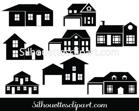 house silhouette vector building silhouette vector graphics