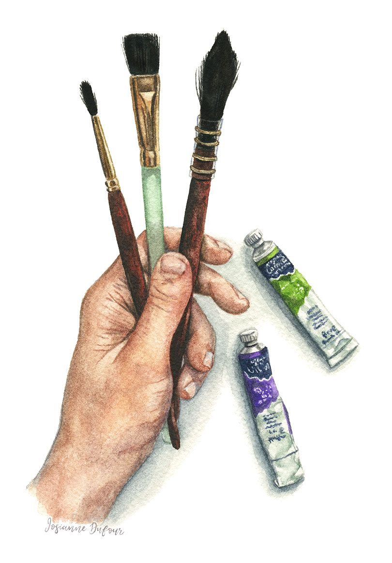 Hand With Watercolor Brushes And Tubes Main Avec Pinceaux Et
