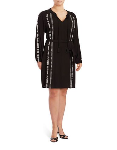 Jessica Simpson Plus Arielle Long Sleeved Embroidered Dress Women's Bl