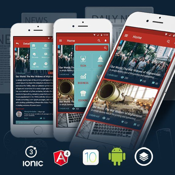 Ionic theme for a news app with live page for video app