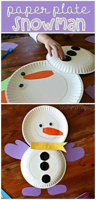 Snowman paper plate Christmas kids craft.