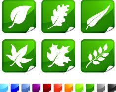 green leaves vector icon set stickers royalty free vector vector art illustration