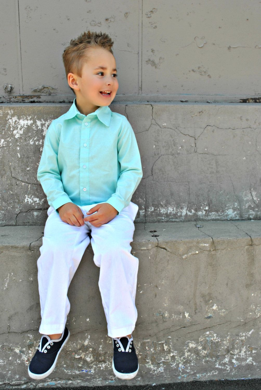 Boys Dress Shirt Boy Mint Shirt Classic By Littlestarclothing