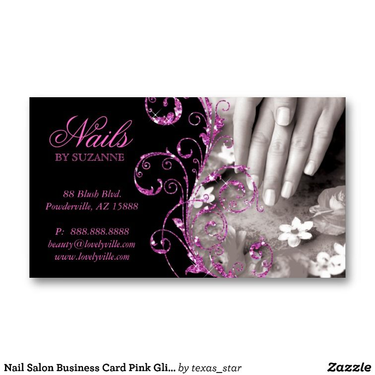 Nail Salon Business Card Pink Glitter Salon