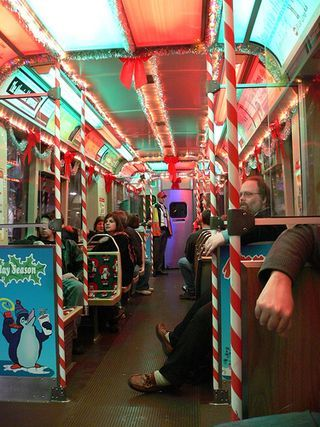 Inside The Chicago Christmas Train Deck The Halls With The Cta Holiday Train I Got To Ride This Once It Was Great Fun