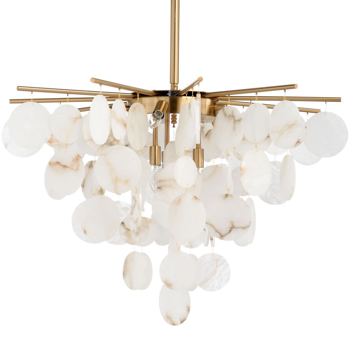 Alabaster And Brass Chandelier Natural White Alabaster Discs Hung