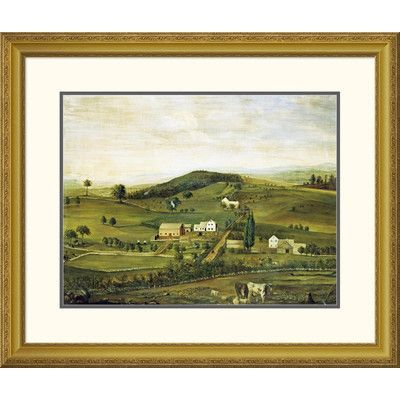 Global Gallery 'An American Farm: Fall View From The East' by American School Framed Painting Print Size: