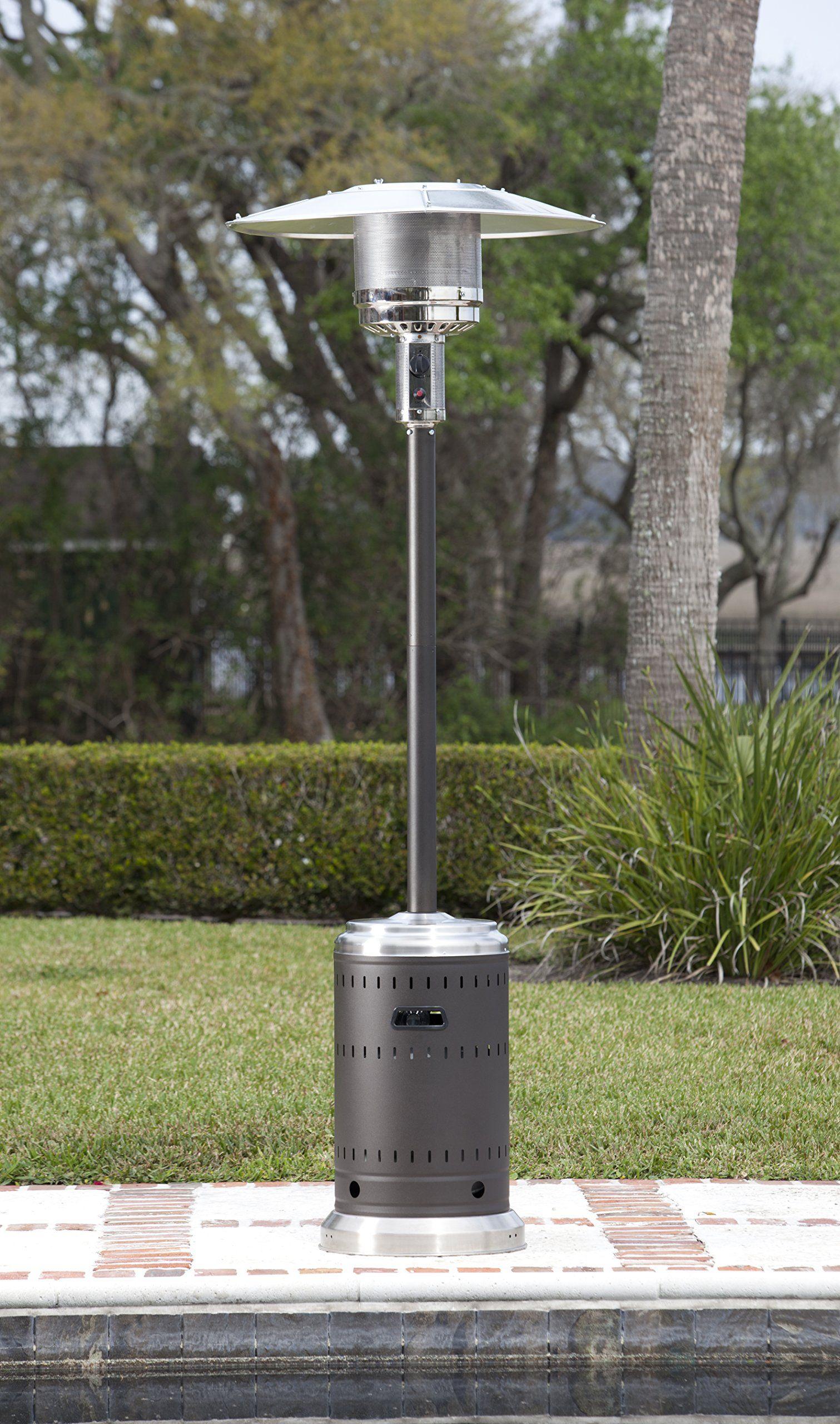 Golden Flame 46 000 Btu Xl Series Matte Mocha Patio Heater With Wheels Propane Patio Heater Patio Heater Fire Sense