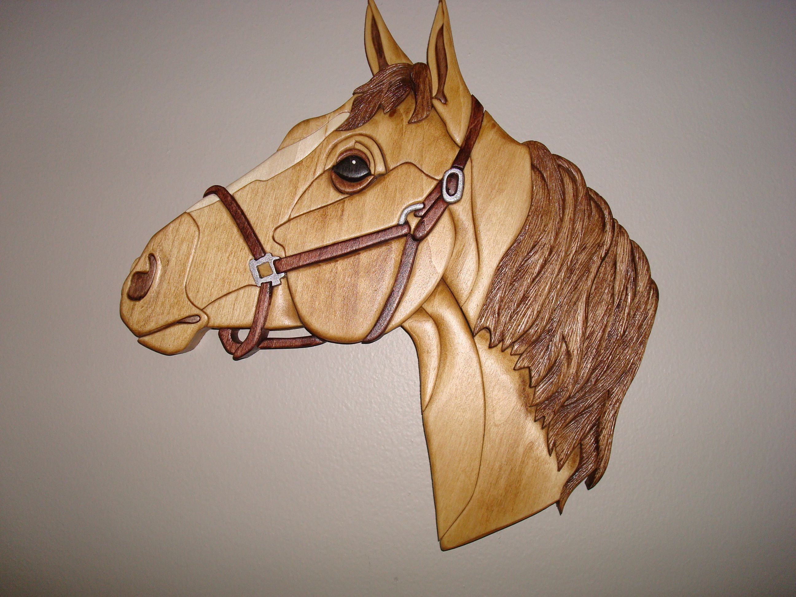 Wooden horse patterns - Horse Head Intarsia