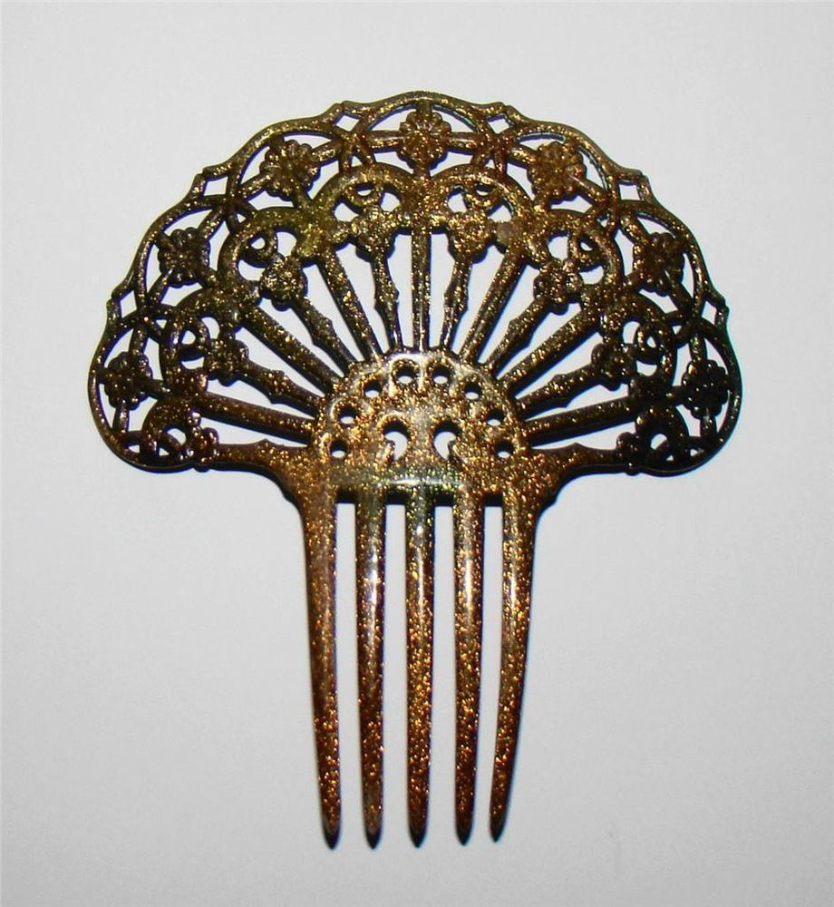 Antique Victorian Bakelite/Celluloid Curved Gold Fan Shape Hair Comb