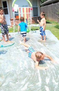Slip N Slides are a summertime staple ...   but they tend to break easily and are kind of expensive!   Luckily, you can make your own! :) ...