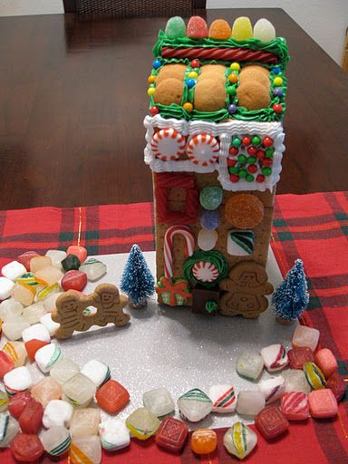 I recommend this to any non-crafty person, such as myself! Instead of creating a gingerbread house from scratch use a juice/milk carton to make up the framework! :) I'm trying it this weekend with my grandma.. It probably won't look as well put together as this one, but I'm determined to make one that won't cave in. :)