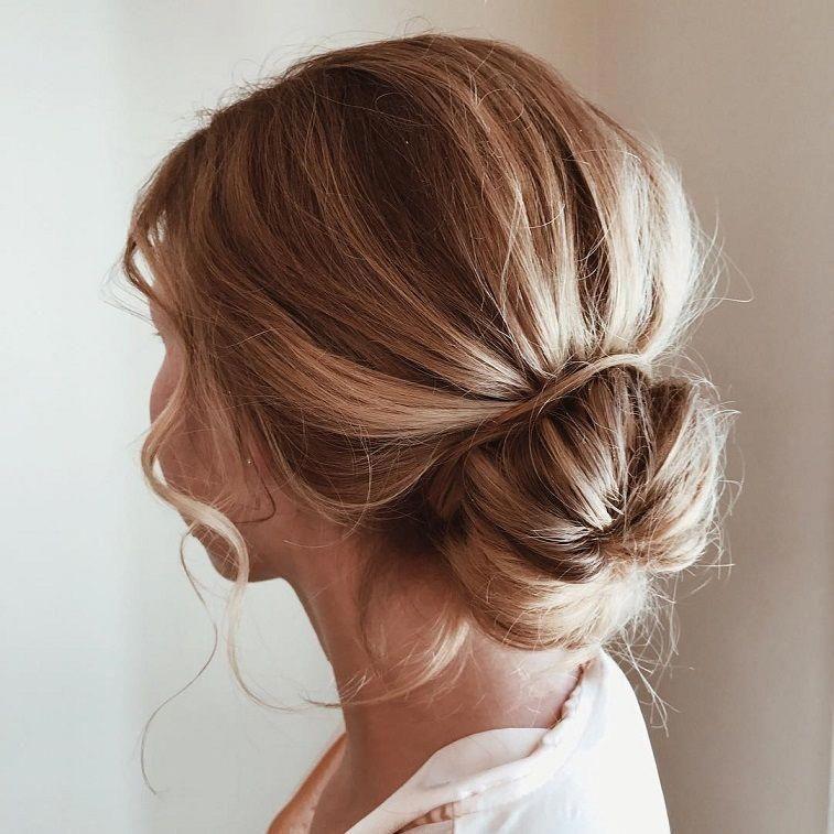 Low Bun Updo Wedding Hairstyles With Beautiful Details Updo Wedding Hairstyles Classic Updo Wedding Hairstyle C Hair Styles Long Hair Styles Hairstyles Theme