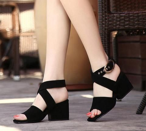 102843cd0ec315 PLUS SIZE 41 42 43 Summer Shoes Woman 2018 Women s Sandals ~Square Heel Sandals  Gladiator~Cross-tied Sandal High Heels-Touchy Style-Black-4-TouchyStyle