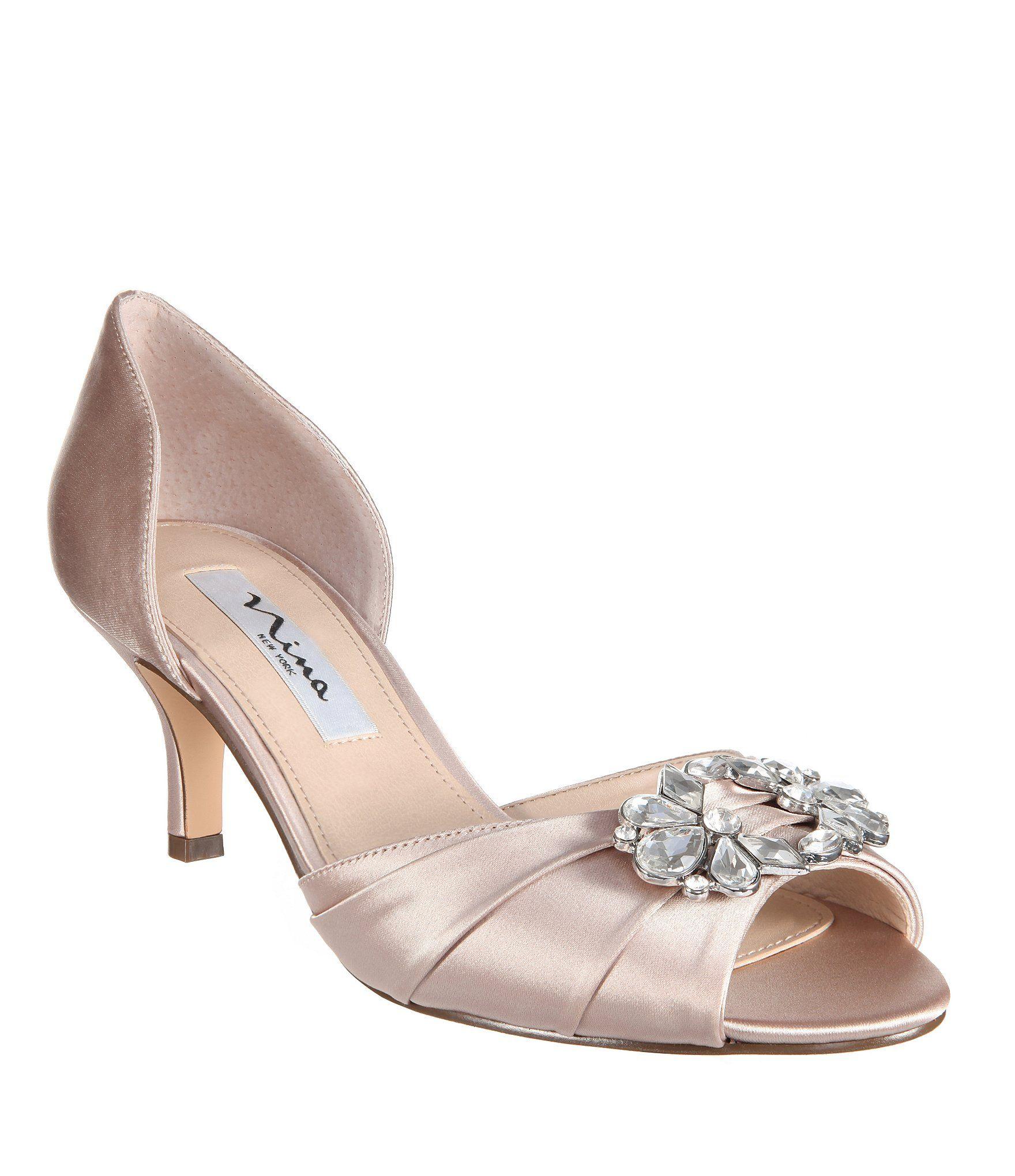28804ebbd Nina Charisa Satin Crystal Brooch Peep-Toe d'Orsay Pumps | Dress ...