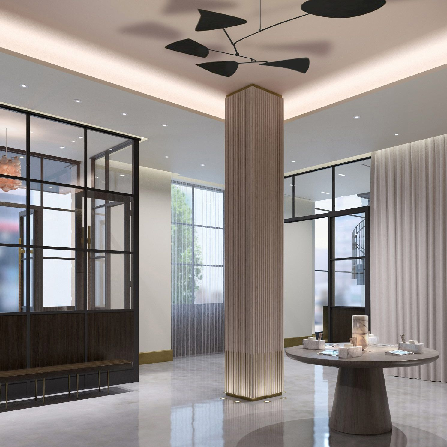 Touring 11 howard and the manhattan house with two new - Decorative columns interior design ...