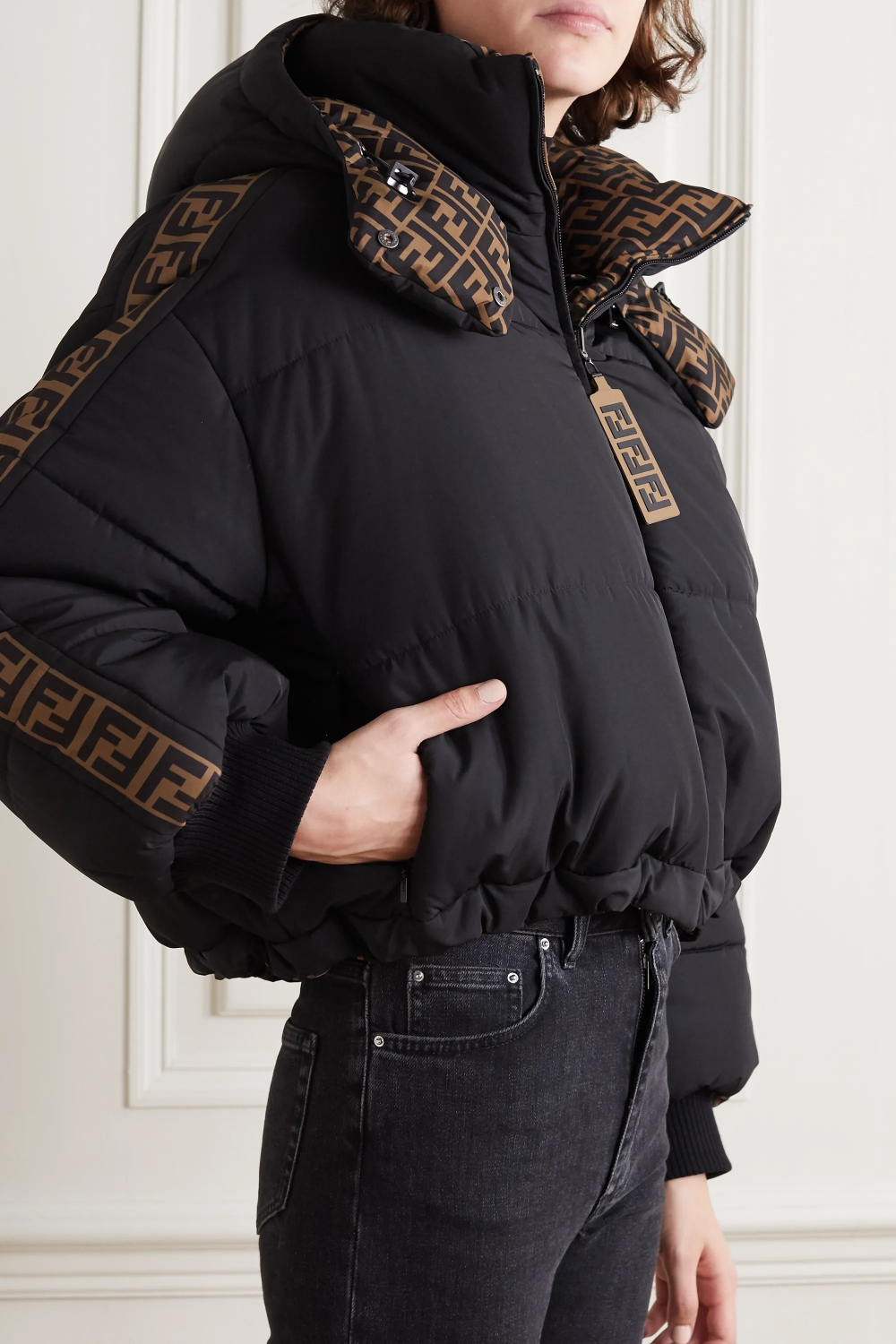 Black Reversible Printed Quilted Shell Down Bomber Jacket Fendi Net A Porter Comfy Outfits Winter Fendi Jacket Women Jackets [ 1500 x 1000 Pixel ]