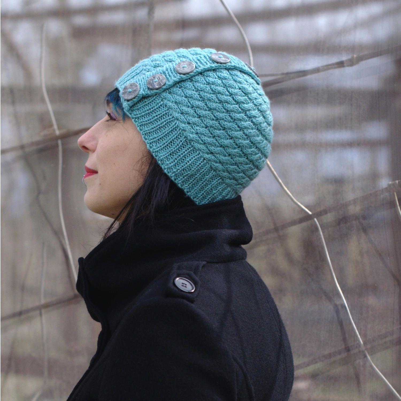Niamh Buttoned Beanie Hat PDF Knitting Pattern