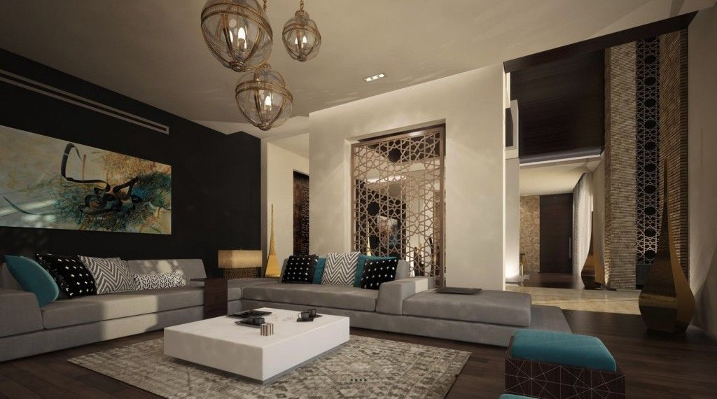 Home apartment sunken living room design with l shaped for Dining room in arabic