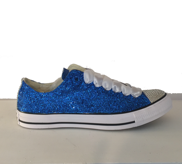 15 OFF with code  PINNED15 Womens Sparkly Royal Blue Glitter Crystals Converse  All Star wedding bride prom shoes - Glitter Shoe Co 1eb76b194a