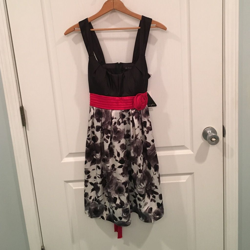 Black white red rose dress nwt products pinterest products