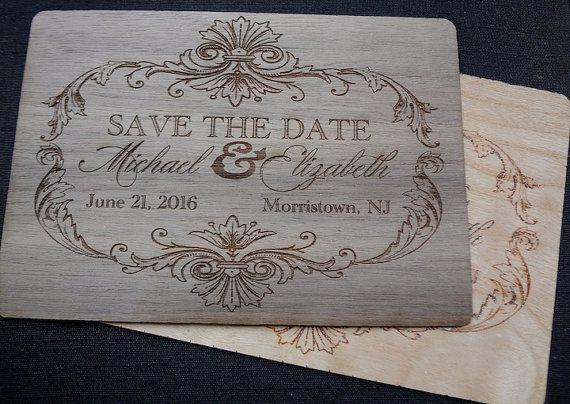 OMG engraved wooden invitations! #wedding #invitations https://www.etsy.com/listing/174421568/wood-veneer-save-the-date