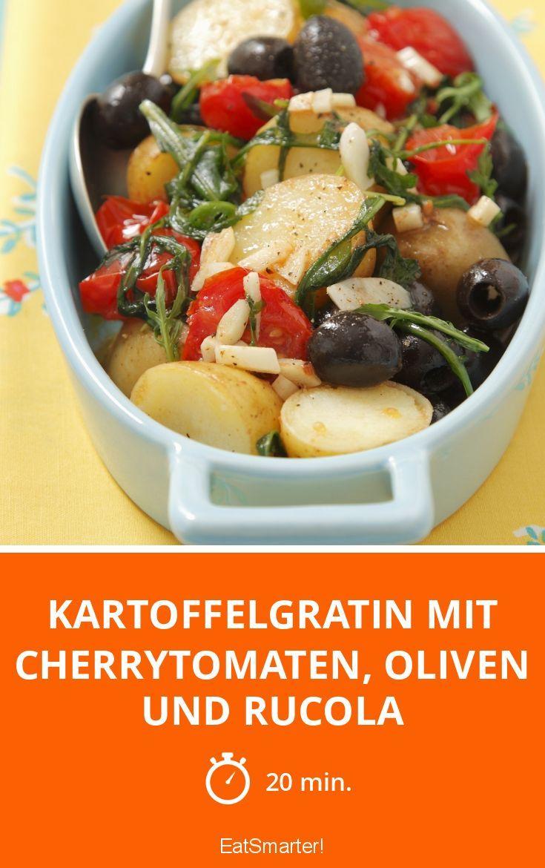 kartoffelgratin mit cherrytomaten oliven und rucola rezept abendessen pinterest. Black Bedroom Furniture Sets. Home Design Ideas