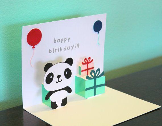 Pop Up Card Panda Happy Birthday Panda Card Cards Panda Gifts