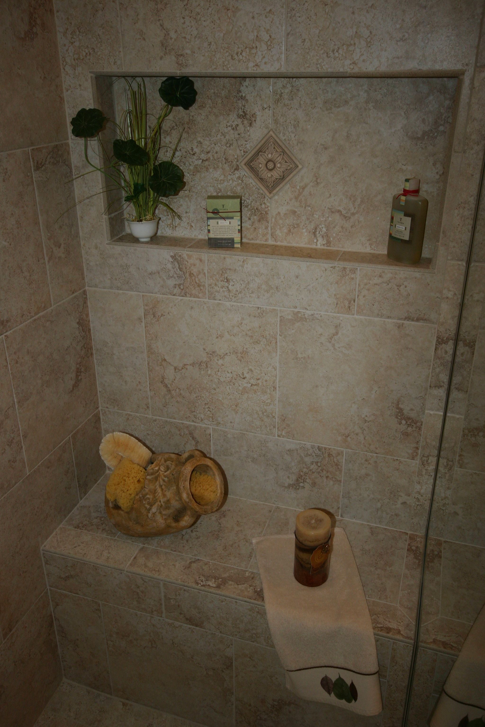 Built-in shower seat and niche | Bathrooms | Pinterest | Shower seat ...