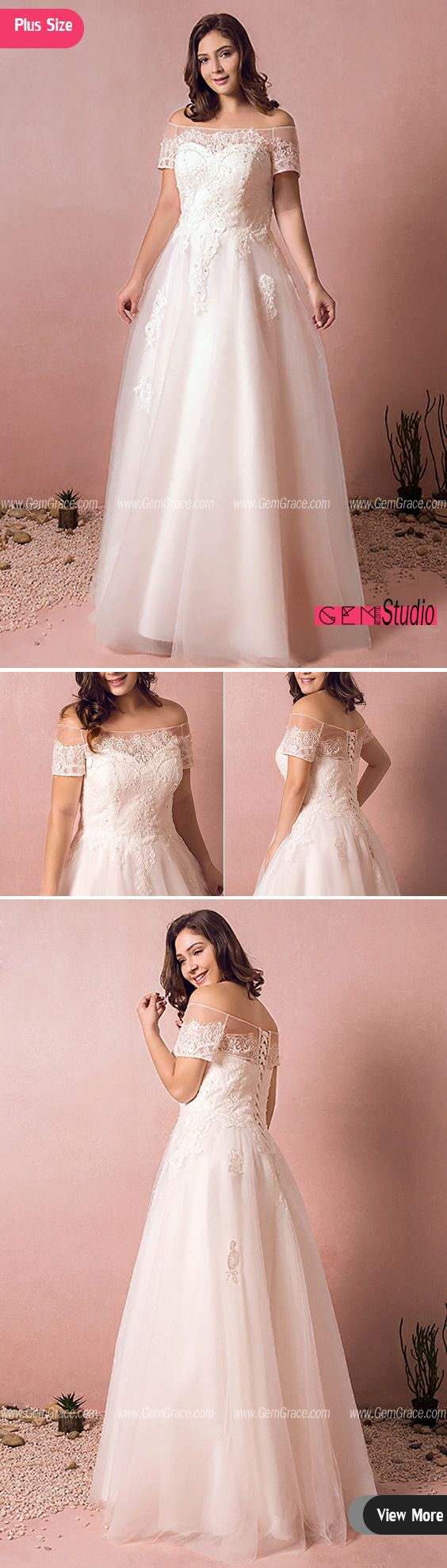 Boho Lace Off Shoulder Plus Size Wedding Dress Country A Line ...