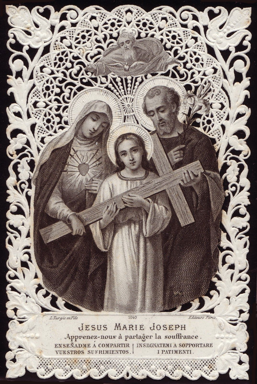 The Holy Family Antique Prayer Card