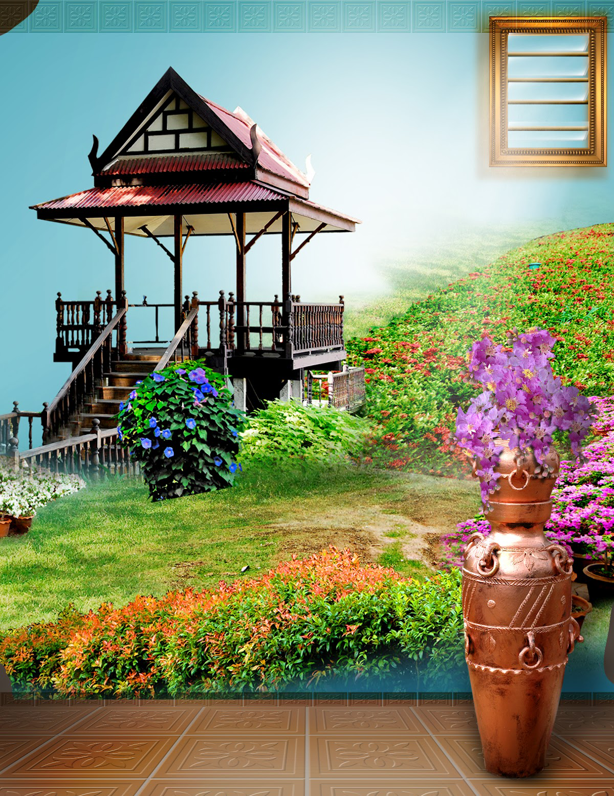 Full Garden In Backyard: Studio Background 8x12 HD Free Download