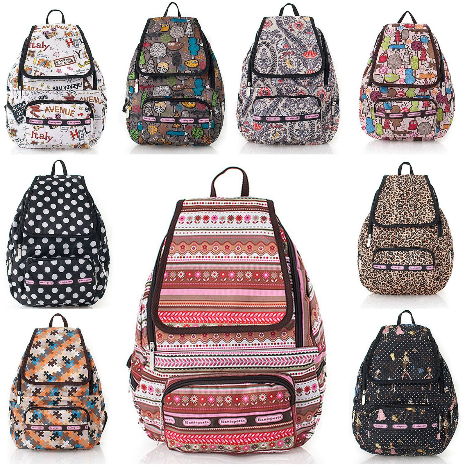 Women's Ladies Backpack Fashion Designed Patterns Book Bag School ...