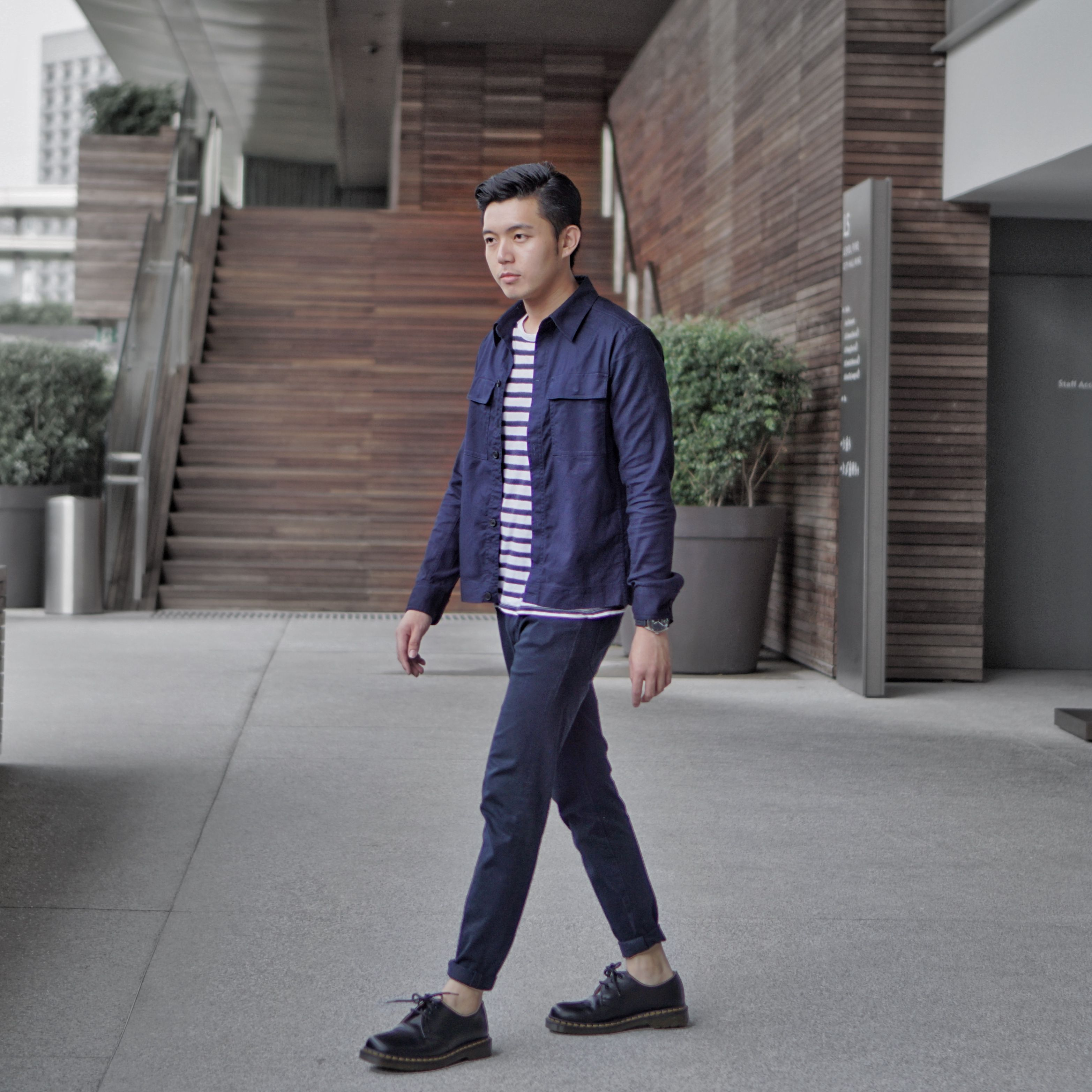 OOTD Men Outfit Ideas Singapore Hm Jacket Navy Blue Uniqlo Jeans Dr Martens | Clothing ...