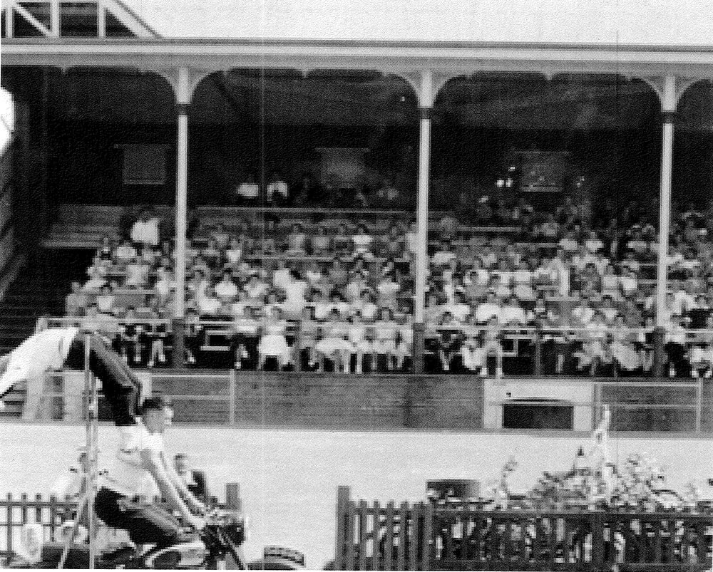 The main grandstand at a Port Adelaide home match in 1956