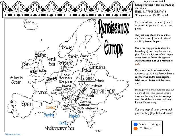 Renaissance 1300 to 1600  Renaissance Unit studies and Free maps