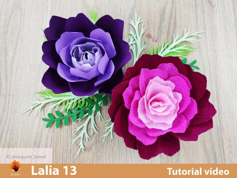 Lalia 13  Paper Roses, Paper Flower SVG, Giant Paper Roses template, Large Paper Flowers, Flower Templates, SVG Cut Files cricut- silhouette