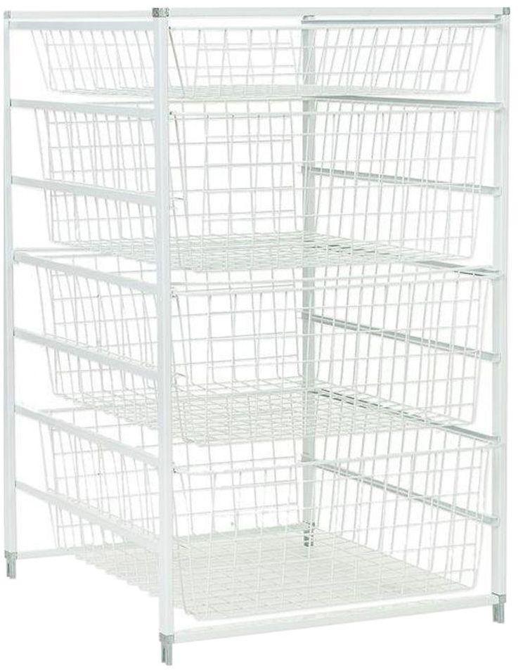 Metal Wire Basket Closet Storage Rack Hanging Sliding Drawers Shelves Organizer Closetmaid
