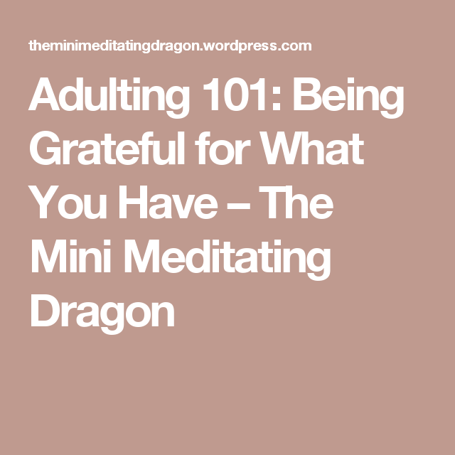 Adulting 101: Being Grateful for What You Have – The Mini Meditating Dragon