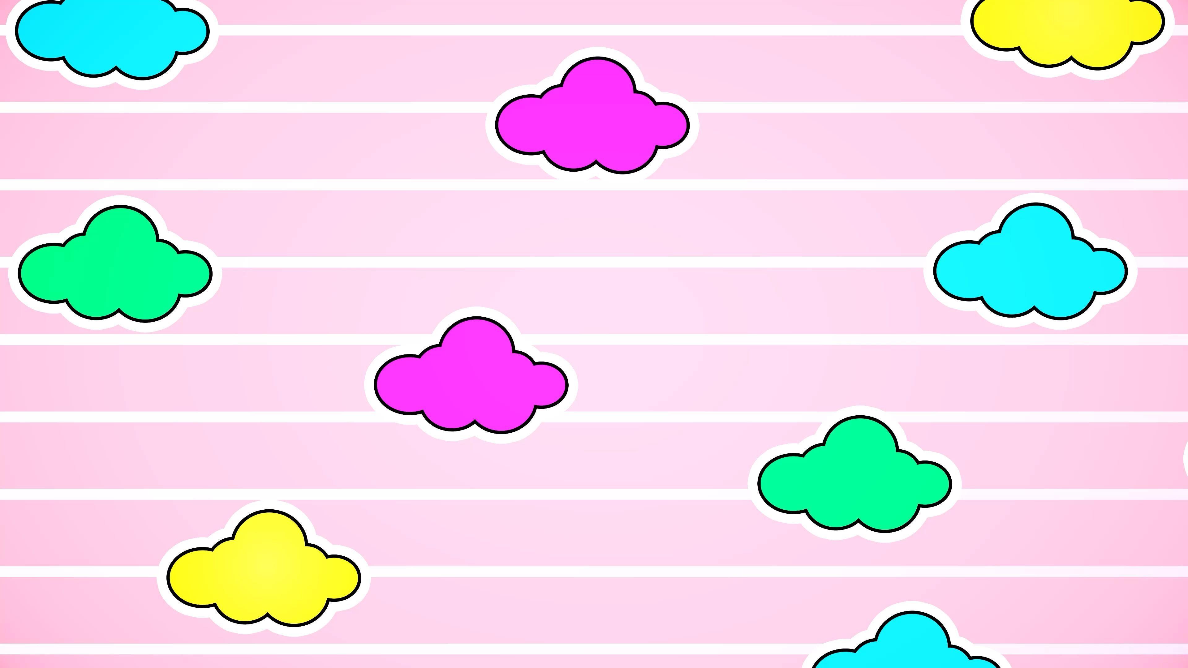 Free Motion Graphic Virtual Background ☁️ Kawaii Cloud Bright Pastel Pink VJ Loop
