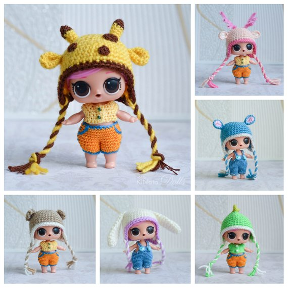6 styles animal hat for LOL doll, Miniature crochet, Crochet clothes, LOL Surprise big sister clothes, Outfit for doll #dollhats