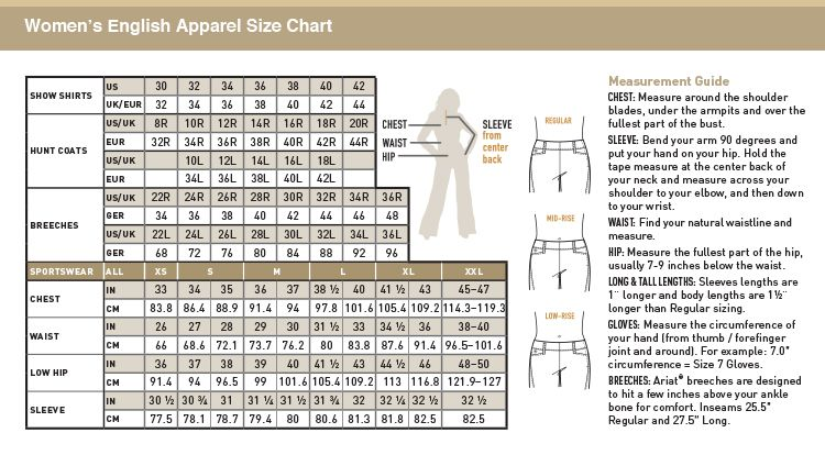 Ariat breeches size chart size charts equis riding gear size