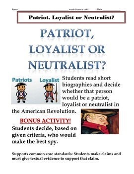 No Prep Just Print Copy And Distribute To Students This 1 Class Period Lesson I Social Studies Lesson Revolutionary War Activities 4th Grade Social Studies