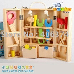 Freeshipping Wooden Tool Toy Box With Bench Hammer Nuts Pegs Bolts Kids Toy Play Handyman In